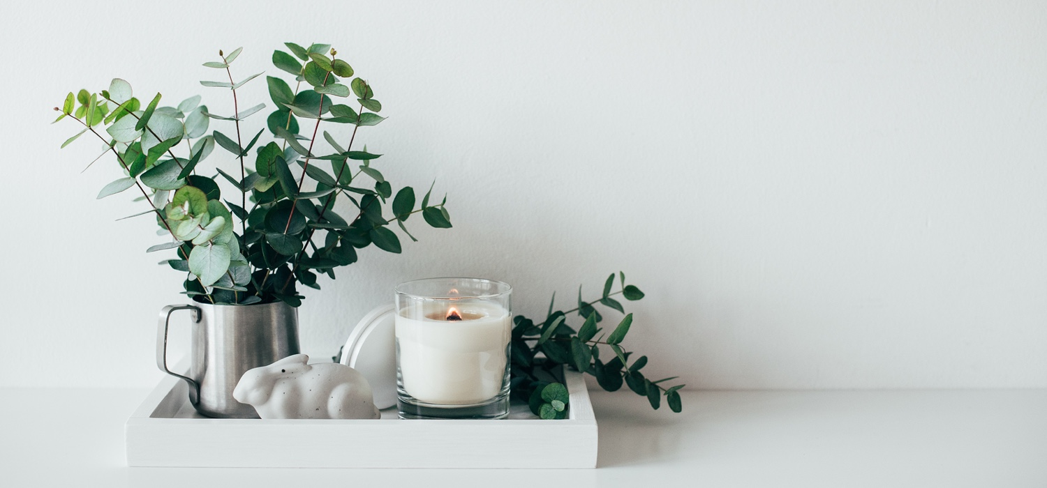 Natural eco home decor with green leaves and burning candle on tray, boho interior decorations.jpg