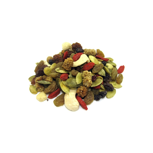 Trail Mix - Snack on Raw Organic Superfood Trail Mix for a healthy snack. With raw organic almonds, cashews, pumpkin seeds, and berries, this trail mix is a snack the whole family can enjoy.