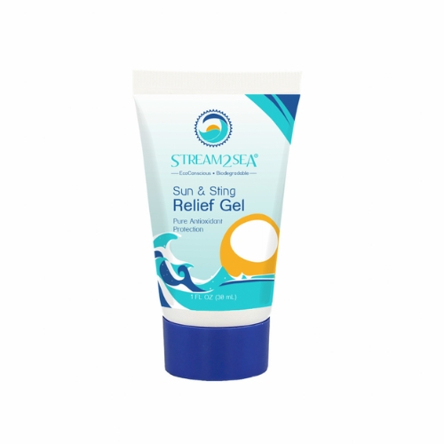 Stream2Sea Relief Gel - This relief gel is made from a powerful blend of essential oils, enzymes, aloe, and antioxidants. The oils and enzymes quickly cool skin for fast relief from sunburned skin, while the aloe, green tea, and antioxidants speed up the skin's healing process. Use this gel after sun exposure, insect bites, or underwater stings.