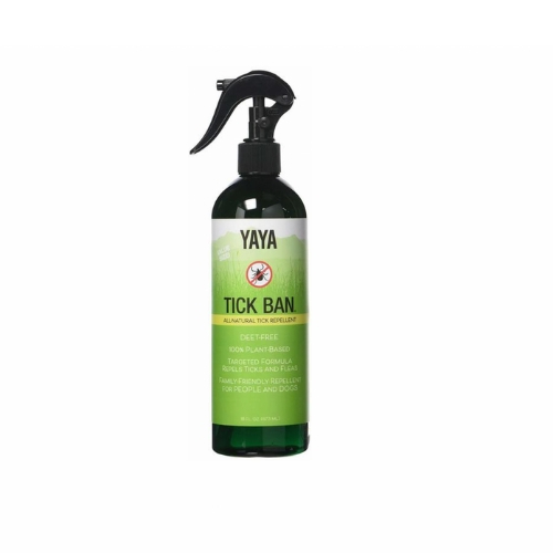 Yaya Tick Ban - This unique blend is made from essential oils that people love and ticks hate, including cedar, peppermint, thyme, geranium, and more. It can also repel fleas and is safe for the whole family, including dogs.