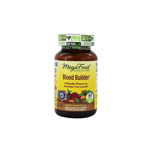 Blood Builder by MegaFood - Blood Builder is an award-winning, natural iron supplement made with FoodState Nutrients and farm-fresh ingredients. This product builds blood, increases blood cell counts, helps with anemia, and improves oxygen flow to the body. Unlike prescription iron supplements, Blood Builder is non-constipating and easy to digest. Blood Builder is the perfect iron supplement for any adult!