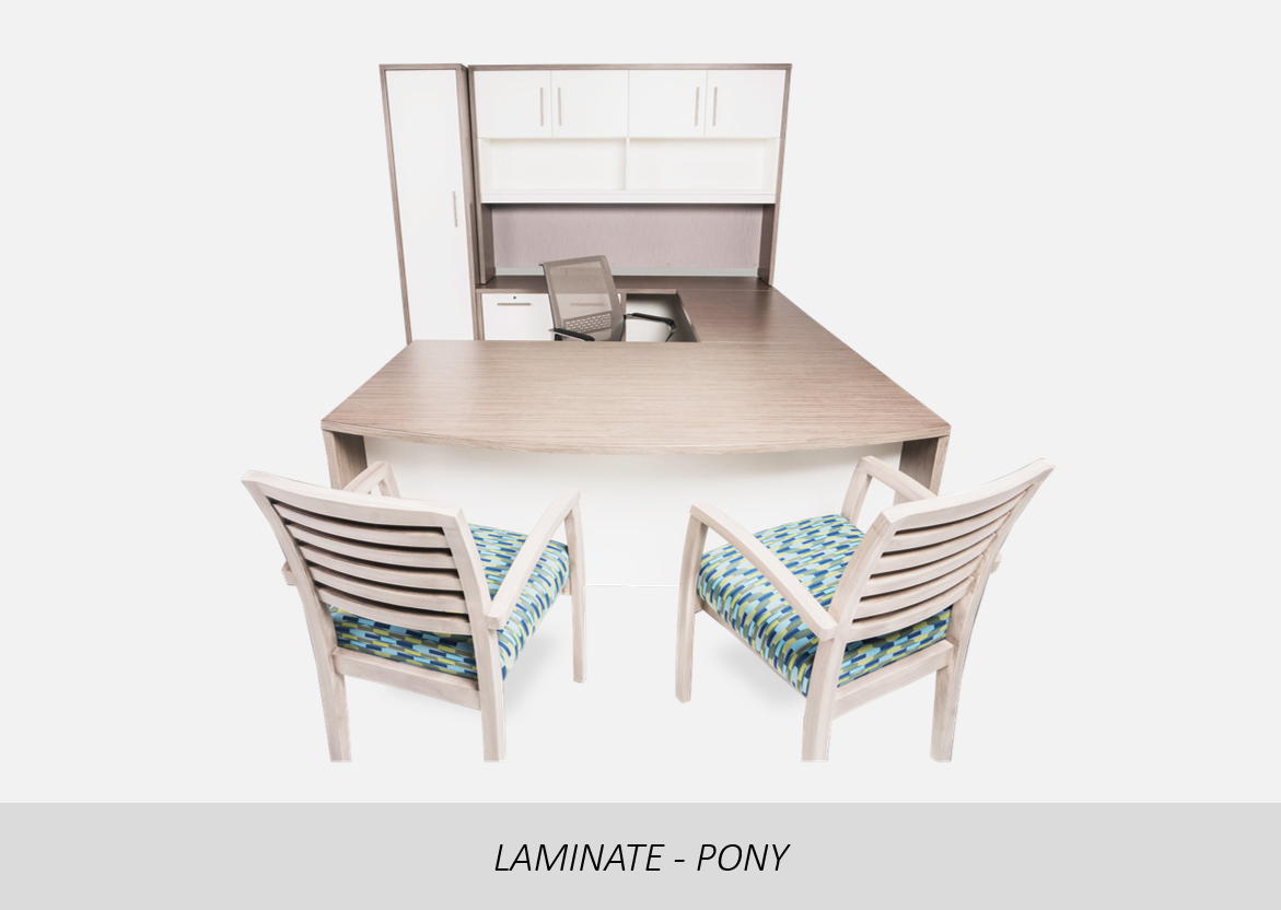 Laminate - Pony    Two-Tone Color | Straight Front U-Shape Configuration | Hanging/Floor Pedestal Option