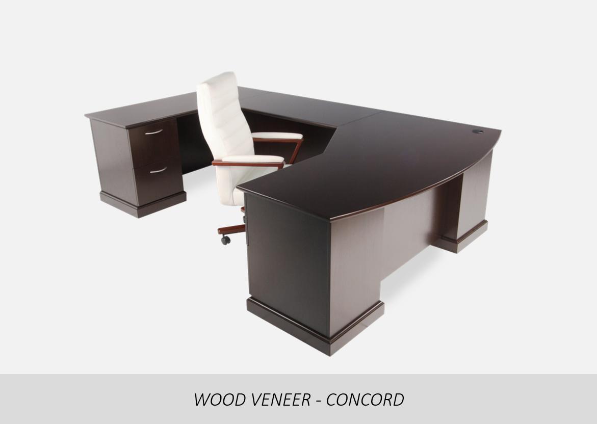 Wood Veneer - Concord    Step Front U-Shape Configuration | Floor Wood Molding Pedestal Option