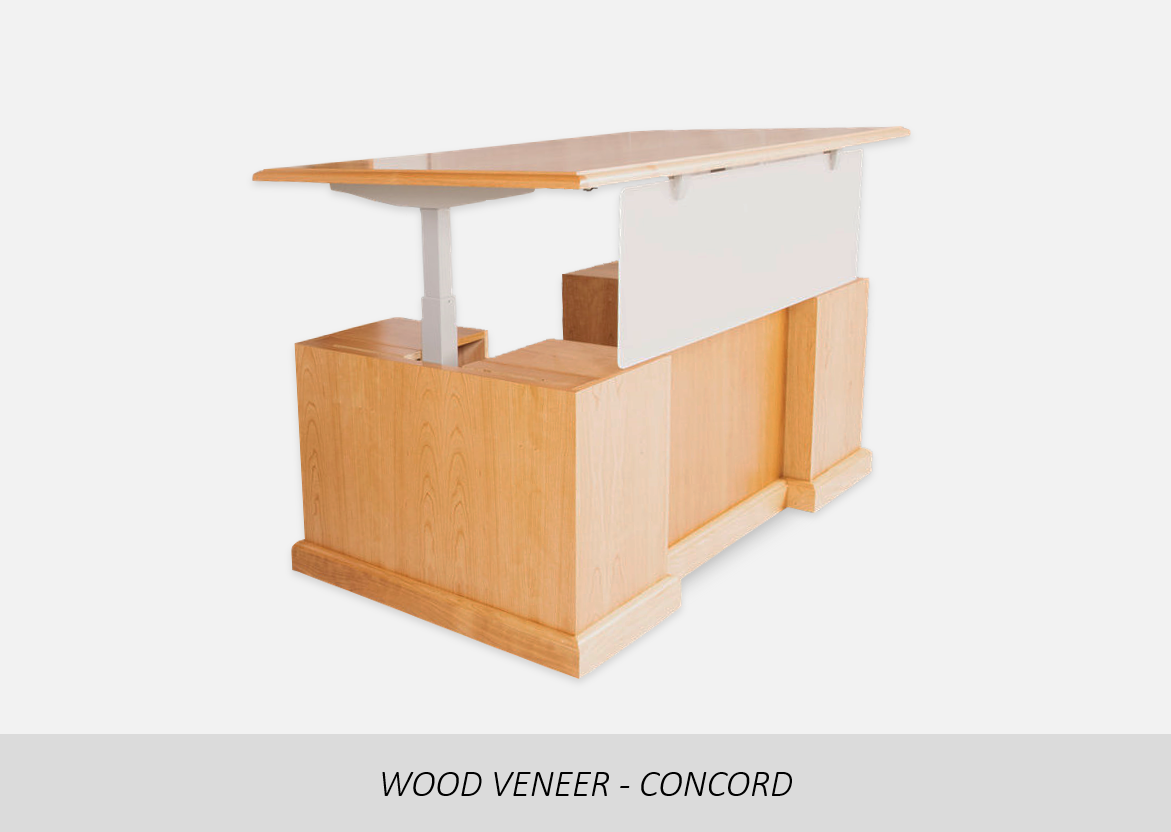 Wood Veneer - Concord    Height Adjustable Top | Step Front Floor Modesty  | Concealed Legs | Acrylic Privacy