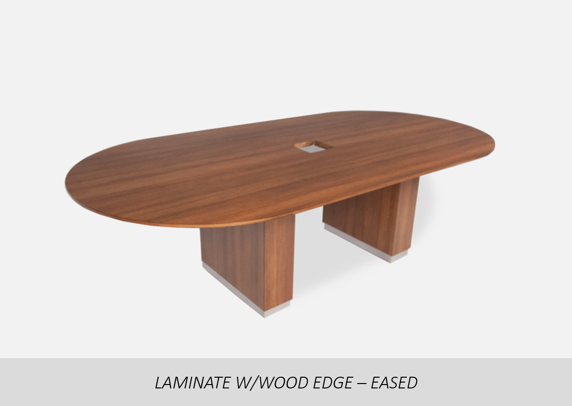 "Laminate w/Wood Edge - Eased    Thermal Fused (TF) or High Pressure Laminate (HPL) Options | 1-1/8"" or 2"" Thick Wood Edge Options 