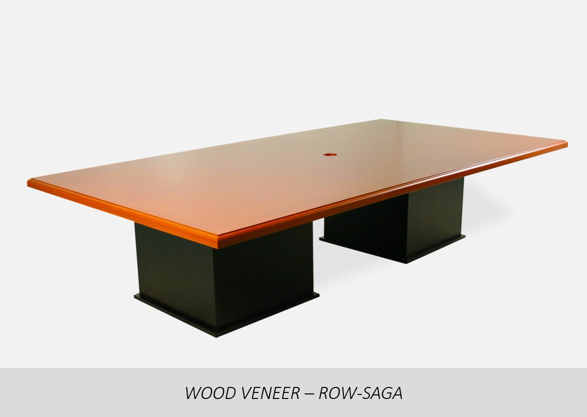 "Wood Veneer - Row-Saga    2"" Thick Solid Wood Edge | Data/Power Cutout Options  | Veneer or Laminate Base Options"