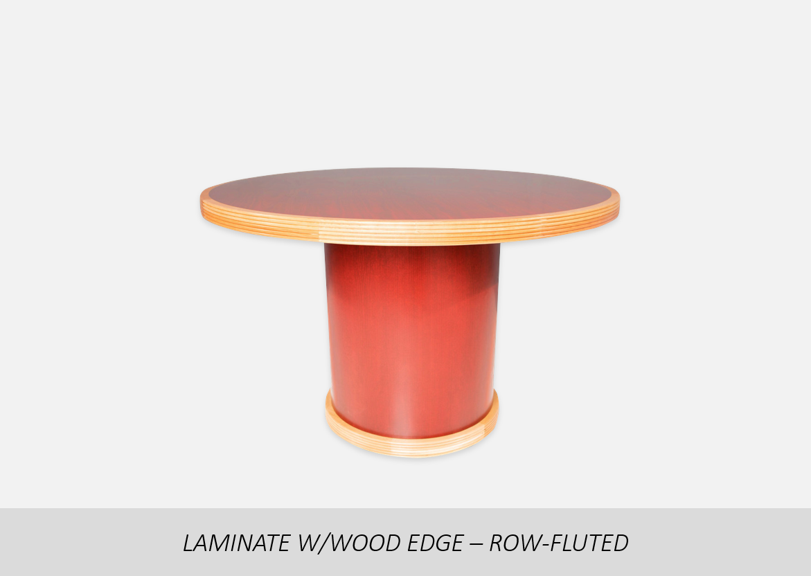 "Laminate w/Wood Edge - Row-Fluted    2"" Thick Solid Wood Edge | Optional Thermal Fused (TF) or High Pressure Laminate (HPL)  | Custom Base Options  | Custom Floor Wood Option"