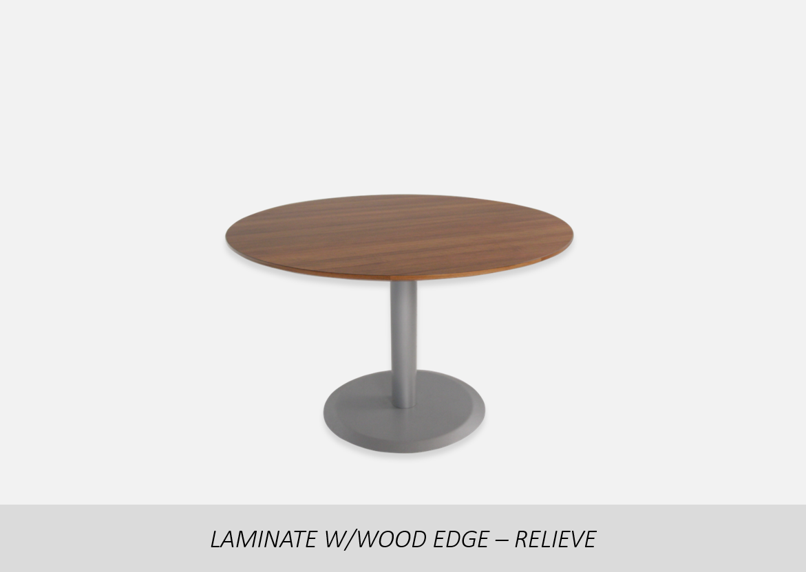 "Laminate w/Wood Edge - Relieve    Thermal Fused (TF) or High Pressure Laminate (HPL) Options | 1-1/8"" or 2"" Thick Wood Edge Options 