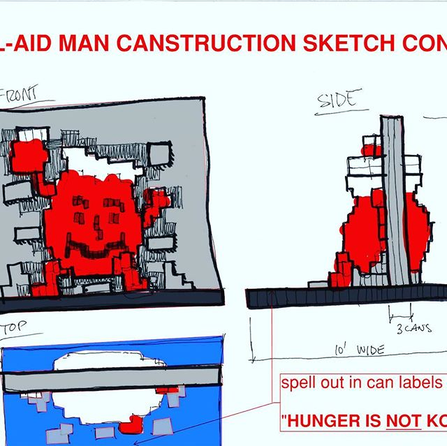 "From concept to Canstructed! ❤️Kool-Aid man ""Oh Yeah"" ❤️#canstruction #chicago #themart #themerchandisemart #greaterchicagofooddepository #canfood #chicagopizza #artonthemart #themart #chicagoconstruction #endhungernow #endhunger #donate  #giveback #chicagoriver #chicagoarchitecture"