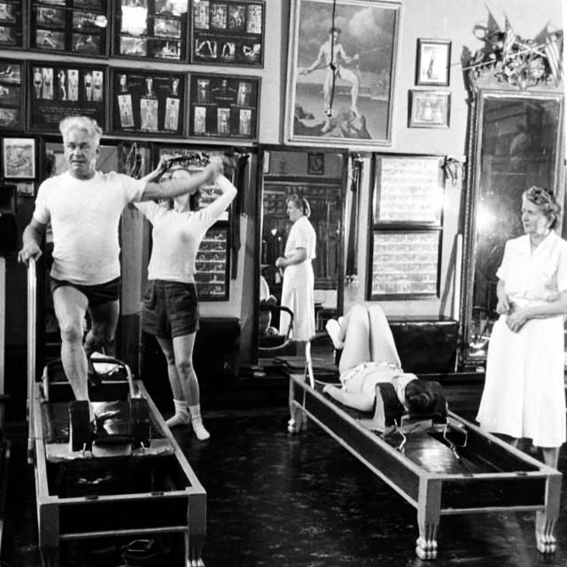 Joseph Pilates teaching at his studio