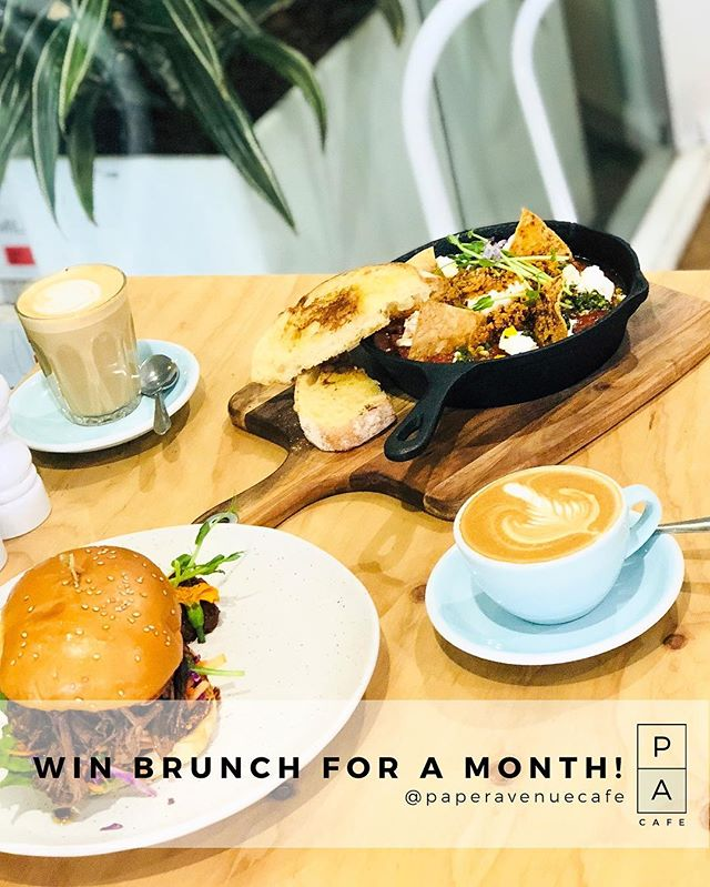 🍾🎉 WIN A BRUNCH FOR TWO FOR A MONTH 🎉🍾 We're giving away brunch for two once a week for a month to one lucky winner and their brunch bestie 😍🙌👊 . . . For a chance to win: 1️⃣ FOLLOW @paperavenuecafe and tag a friend in the comments section below 2️⃣ LIKE this post. 3️⃣ Take a picture of yourself in our cafe and tag @paperavenuecafe (Enter as many times as you like to increase your chances of winning. Each entry must have a different friend) . . Competition closes on Friday 22nd June with winner being randomly selected and announced in comments below. Good luck brunchies! 🎉🥂#brunch #perthbrunch #perthbreakfast