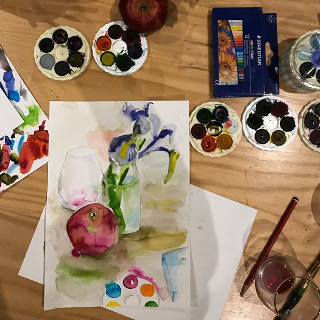 Last night we had our first Art Club - a monthly creative get together for co workers and pals and it was a hoot! Nice for everyone to have a chance to get on the creative tools over a drink or two.