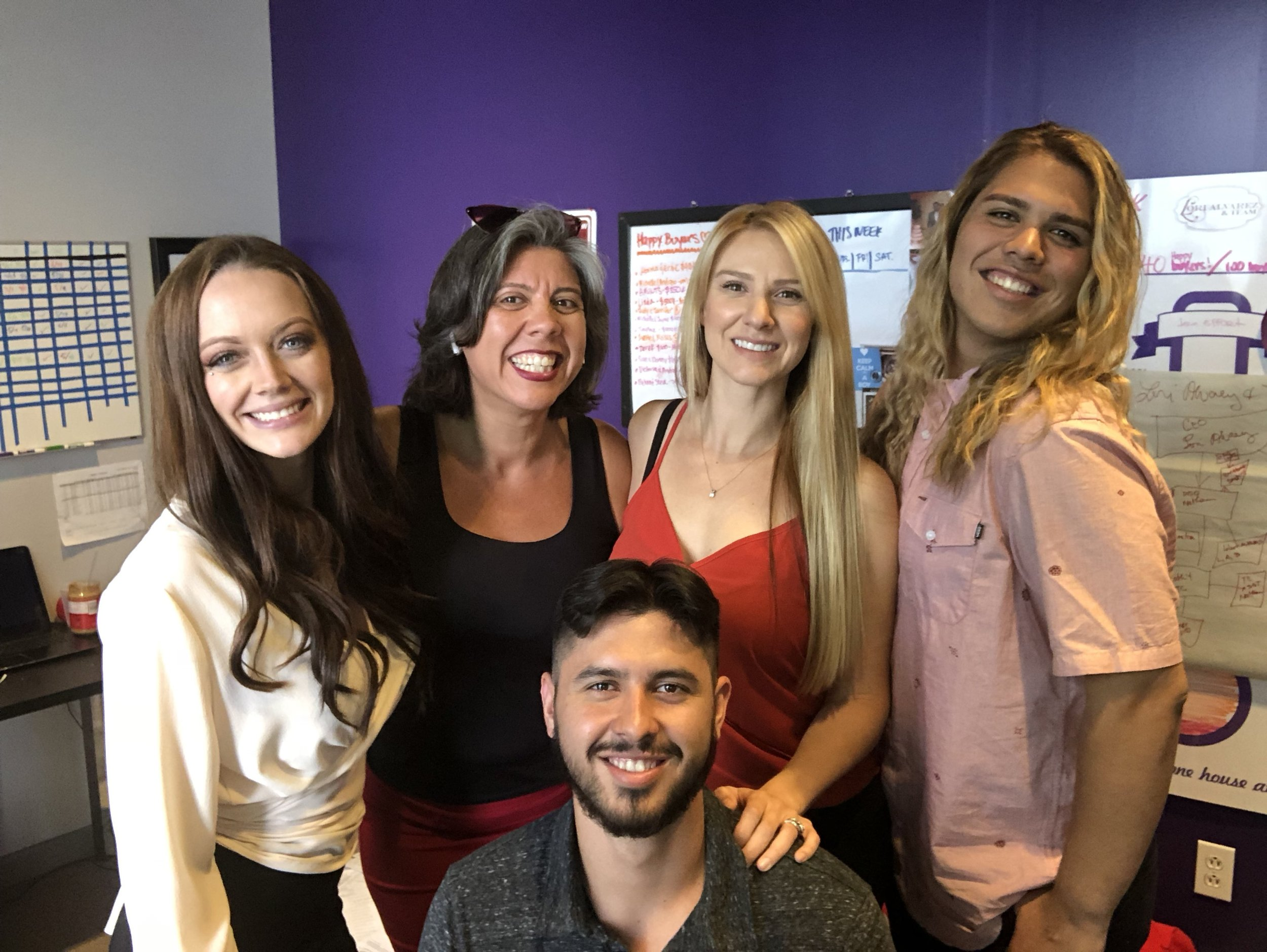 Here is the Team from left to right; Bethany Gonzalez, Realtor, Lori Alvarez, Realtor / CEO, Amy Cruz, Realtor, Nick Alvarez, Events Coordinator, Nathan Alvarez, Realtor and Team Manager!