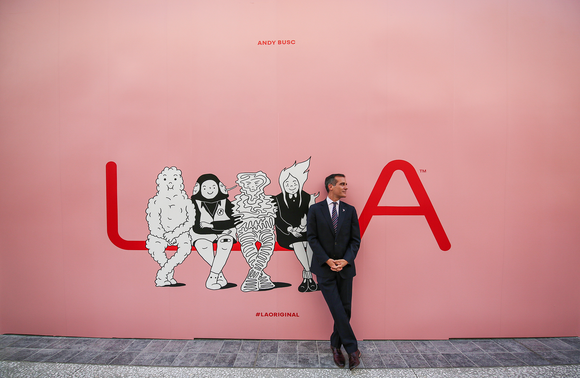 Mayor Eric Garcetti in front of the Mural at Westfield Mall