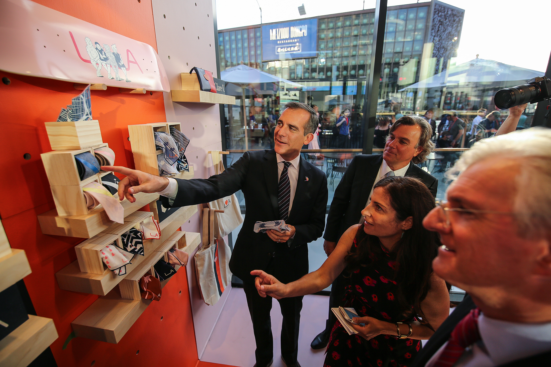 Mayor Eric Garcetti at the unveiling of the LA Original store
