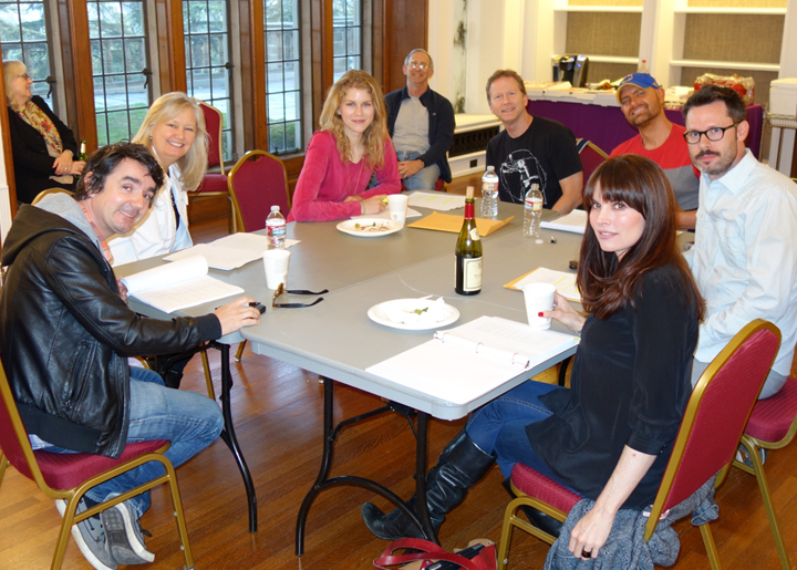 """First reading of """"The Elephant in the Room"""" took place at Greystone Mansion on April 24, 2014. Seated at table counter clockwise are: Darren (Daz) Richardson, Christie Mossman, Ellie Jameson, Clete Keith, Stephan Smith Collins, Tom Musgrave, and Whitney Dylan. Seated in back are Betsy and Craig Berenson."""