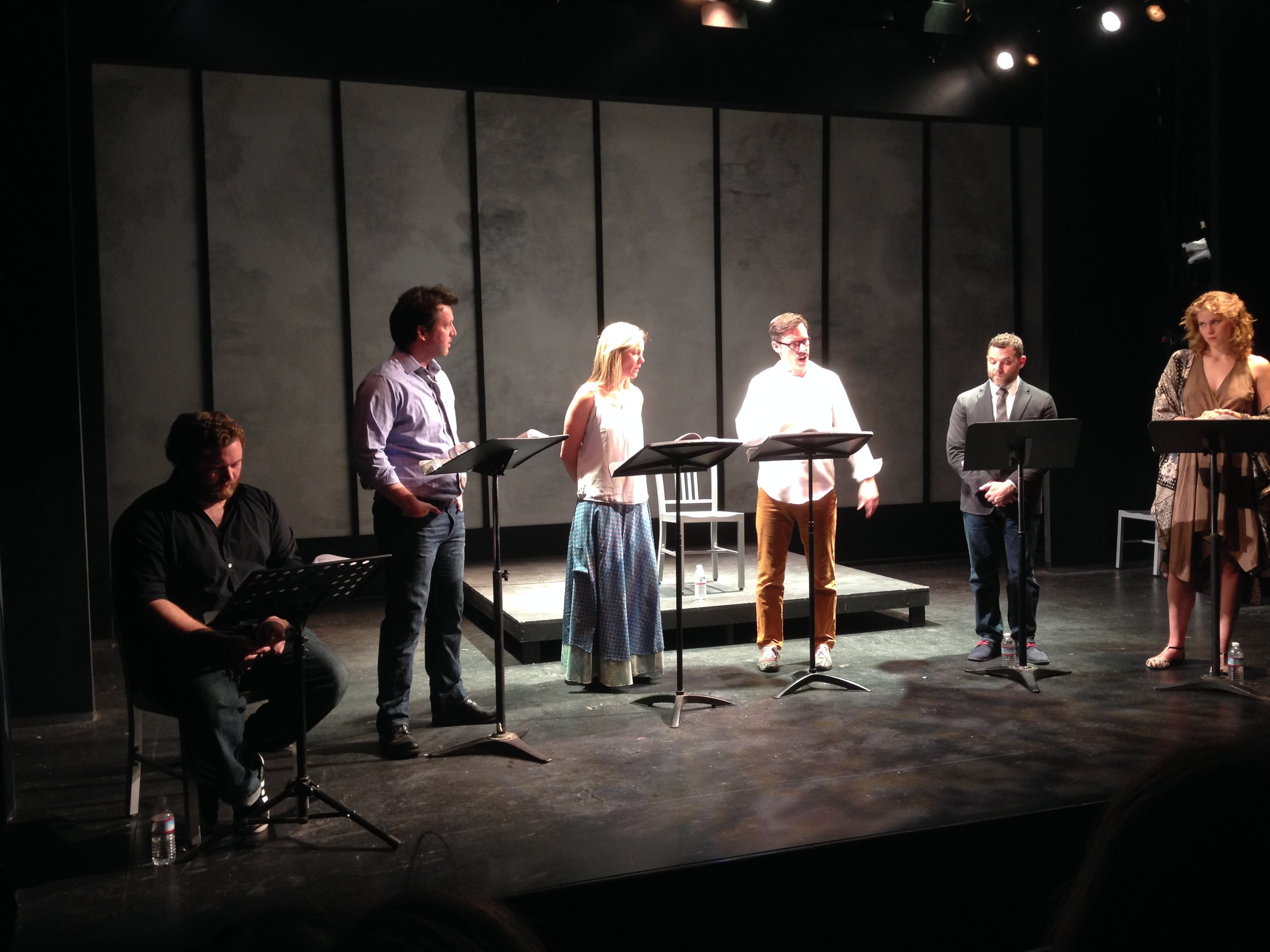 """The third reading of """"The Elephant in the Room"""" was performed at The Road Theatre on April 6, 2015. Left to Right: Kevin Shipp (reading stage direction), John Pollono, Laurie Okin, Tom Musgrave, ????, and Ellie Jameson."""