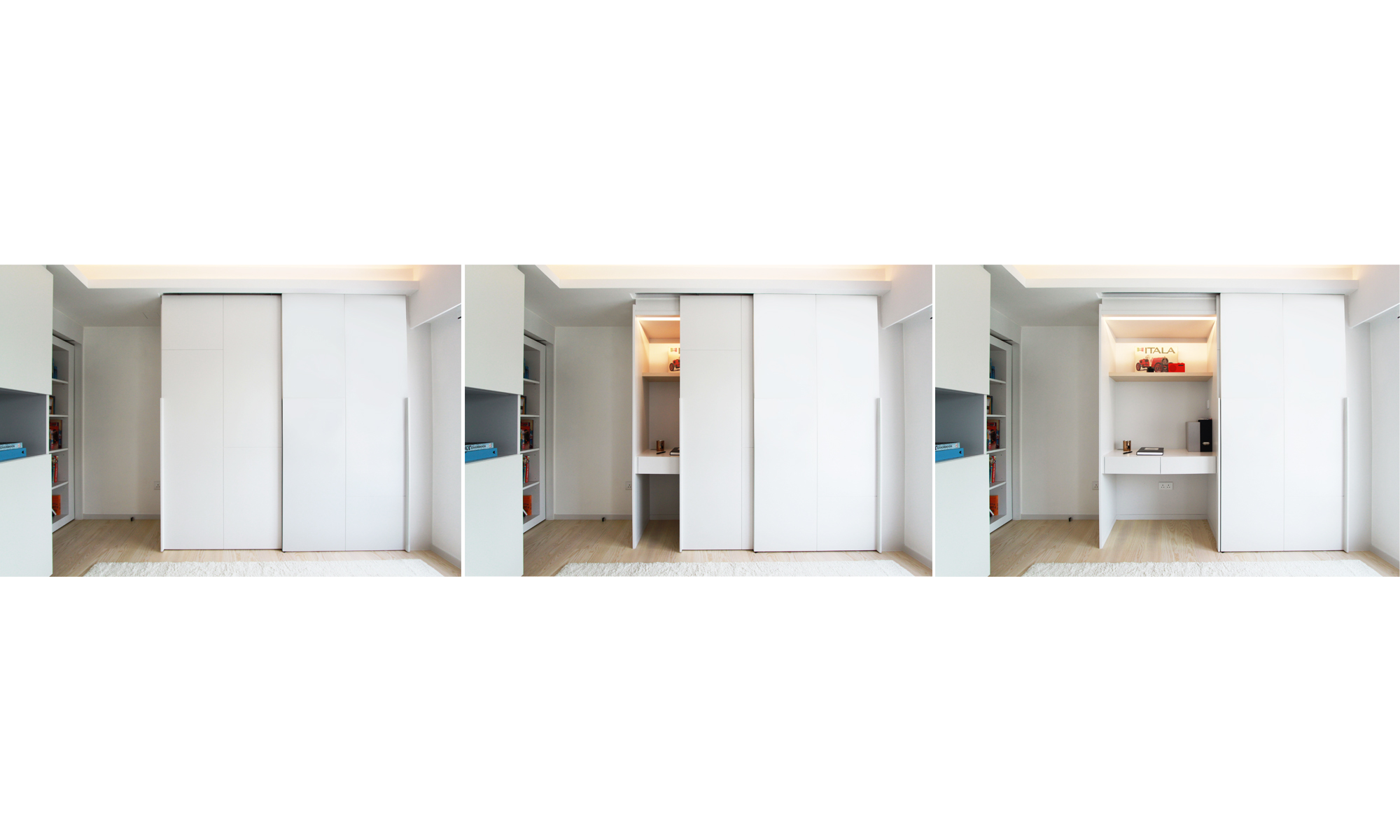 Hidden occasional desk | Occasional desk used when living area converts to bedroom mode, creating a seamless wall surface in living area on usual days.