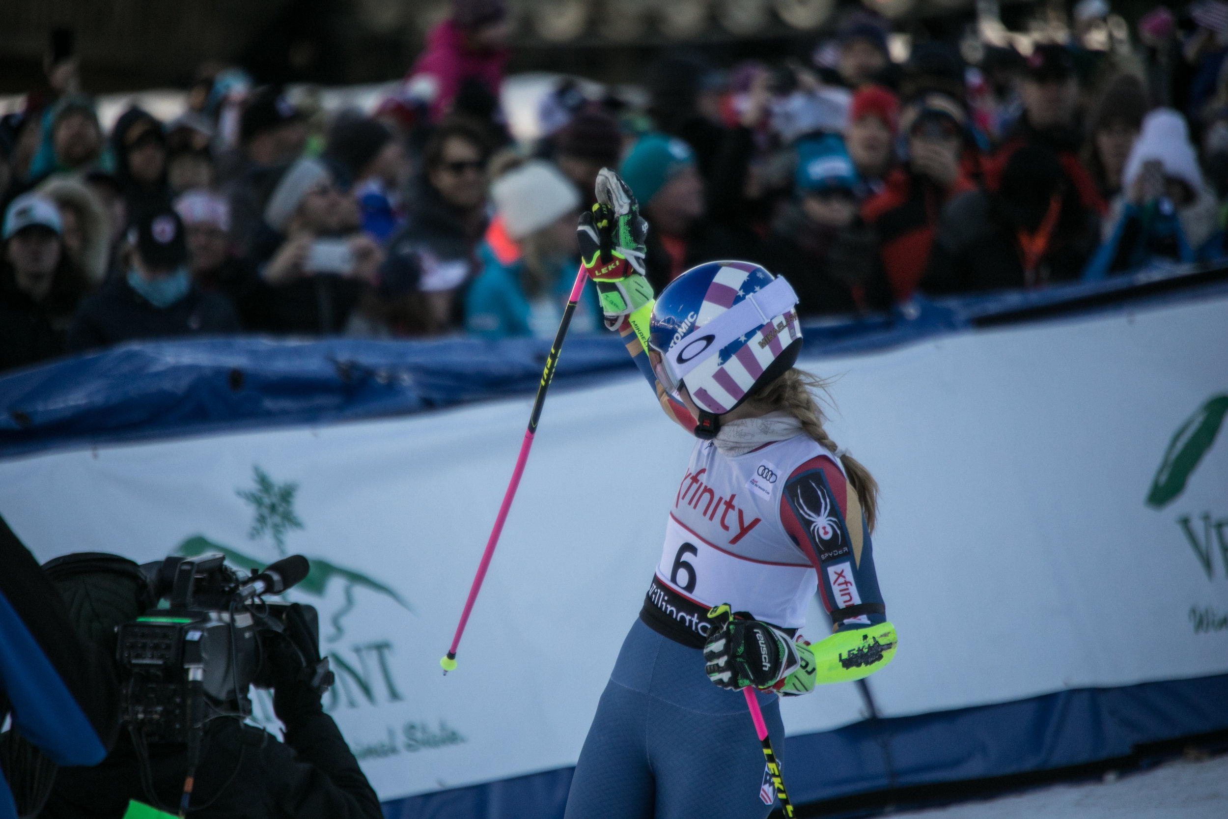 Mikaela Shiffrin waves to the crazed crowd after coming in 2nd on Saturday in the Giant Slalom.