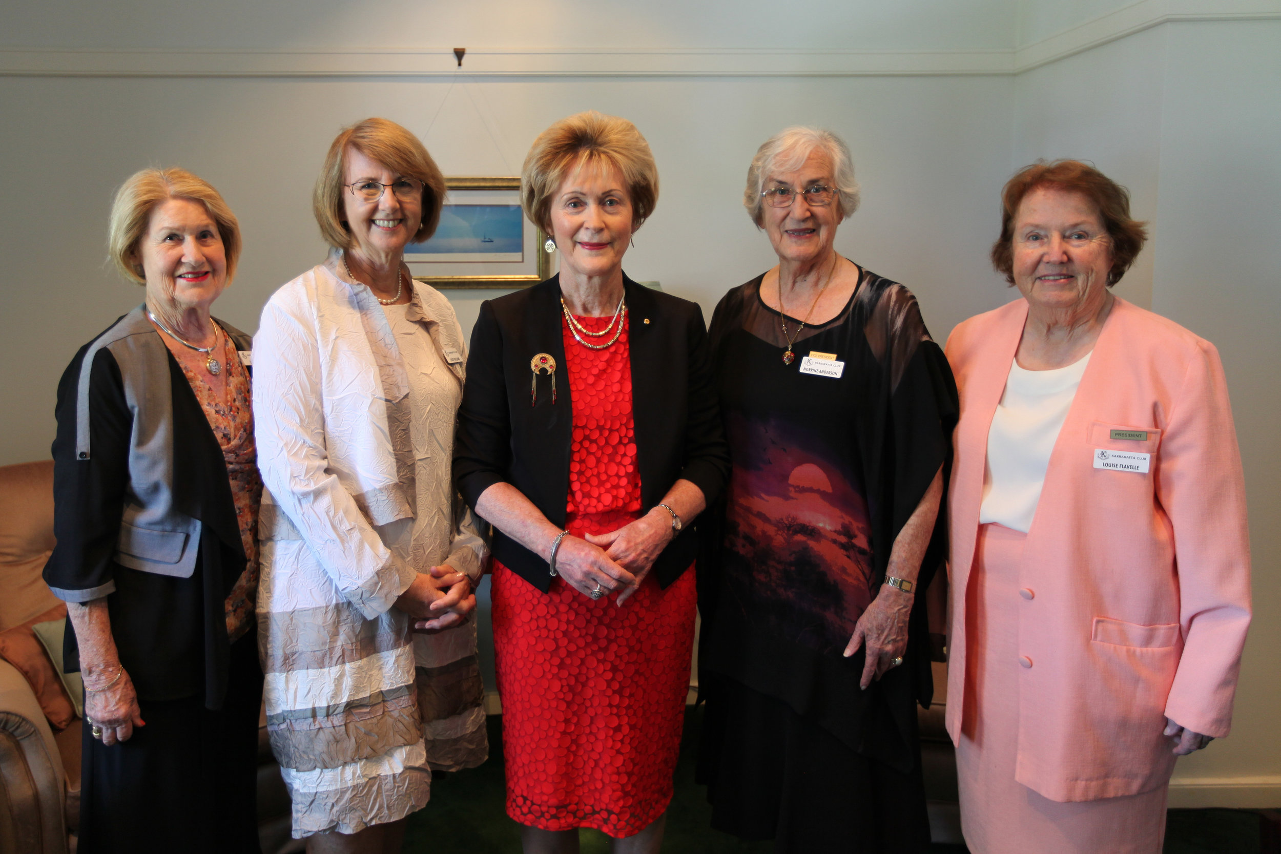 Left to Right: Mrs Lynn Mias, Dr Lesley Williams, Her Excellency Mrs Kerry Sanderson AC, Dr Norrine Anderson, Mrs Louise Flavelle