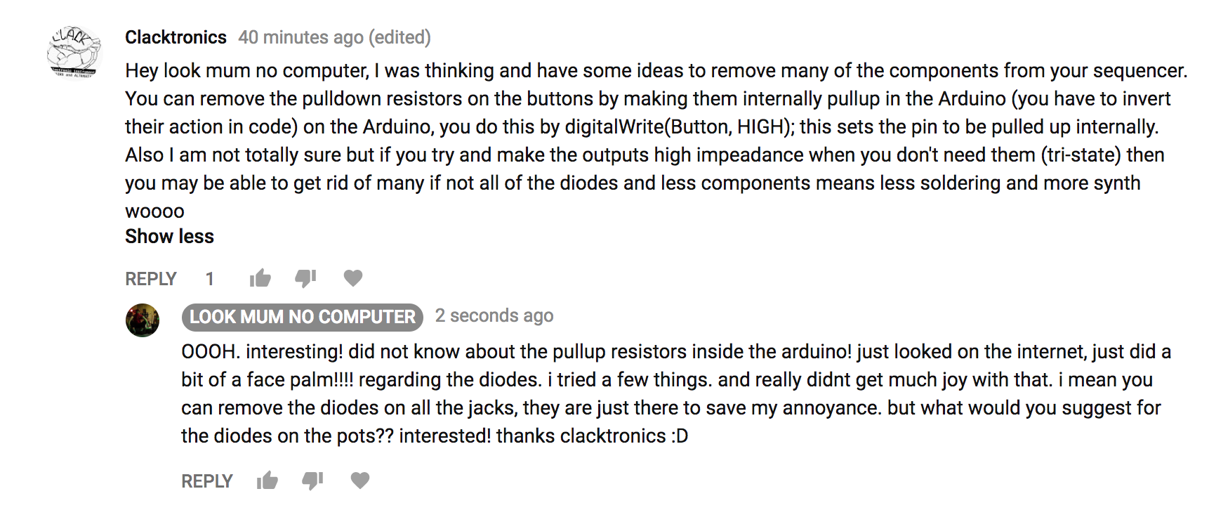 This is true. if you want to skip all them 10k resistors! i challenge you to figure this out! it will be a case of swapping all the HIGHS, and LOWS......  Also this raises stuff about the diodes! all of the diodes attached to the jacks, dont need to be there. they are there just incase sometimes you plug it into stuff that it dont play nice with. or the switches may trigger things they arent supposed to. if you aint bothered, you dont have to bother with them!  They are just rudimentary circuit conditioning.