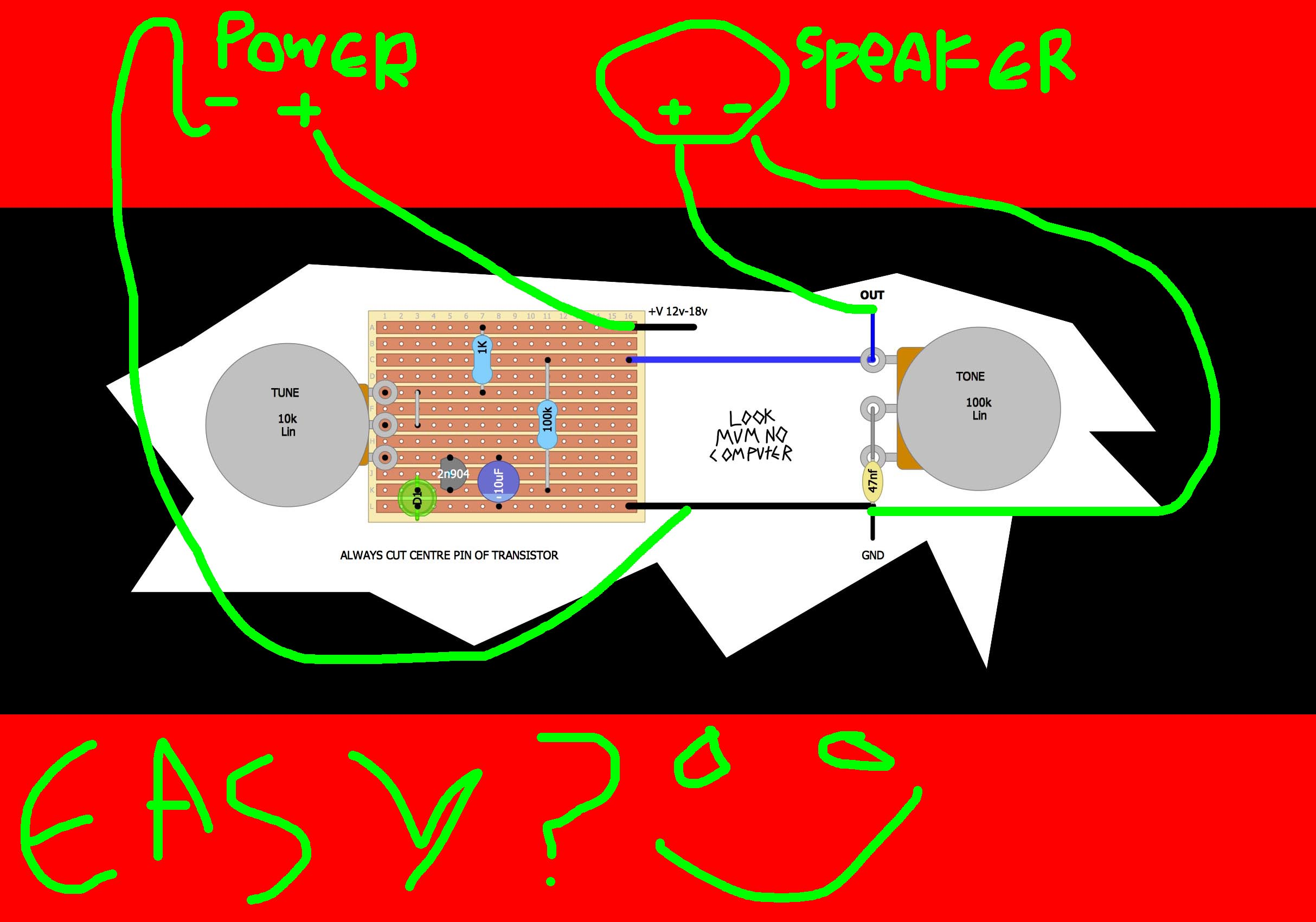 i quickly drew this for somebody on an email. it seems this might be of help to a few people! the ground needs to be shared with everything. so you attach the ground (GND) to both the battery and the speaker!!! you can swap the speaker with an amp. or a guitar jack, cut a guitar jack and attach the outside copper sleeve stuff to ground, and the middle wire to OUT :)