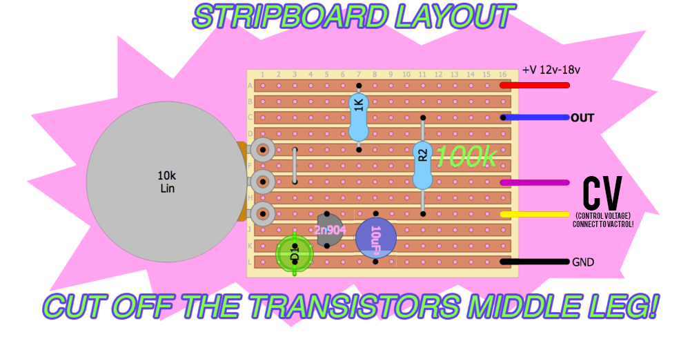This is the stripboard layout with the optional CV wires you wire up to a vactrol! in the video below!!! (purple and yello wires).