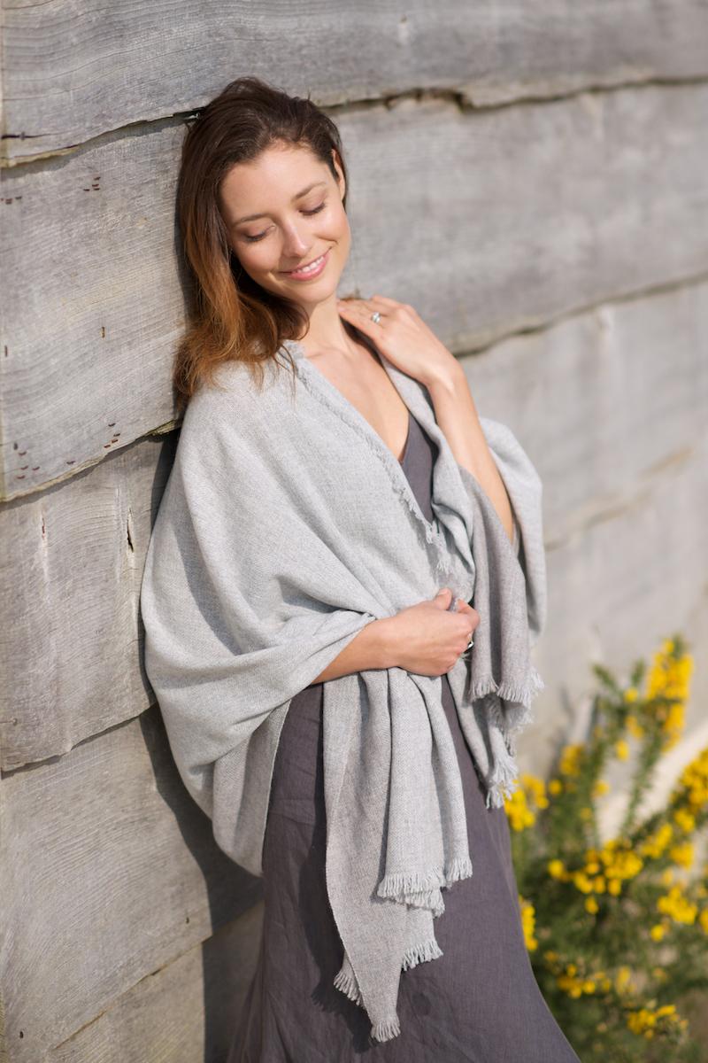 Rugged stripe shawl. Natural light grey, natural grey.jpg