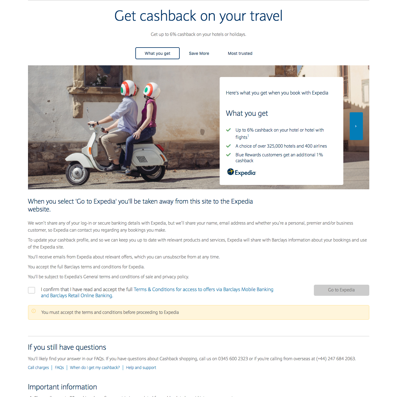 Smart Spend Expedia page