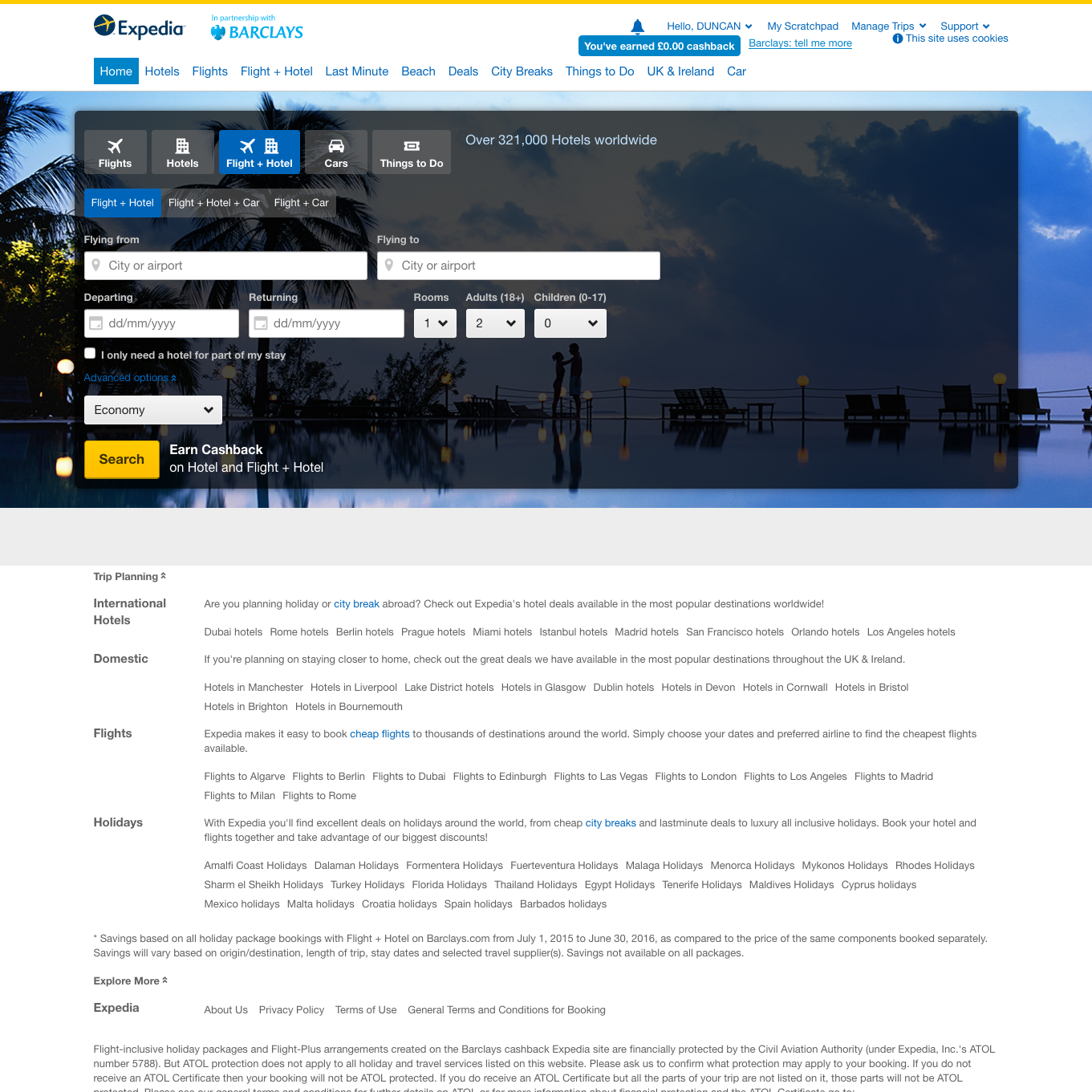 Smart Spend Expedia hosted page