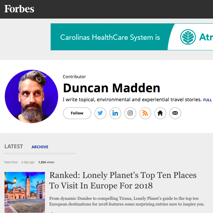 Travel contributor for Forbes