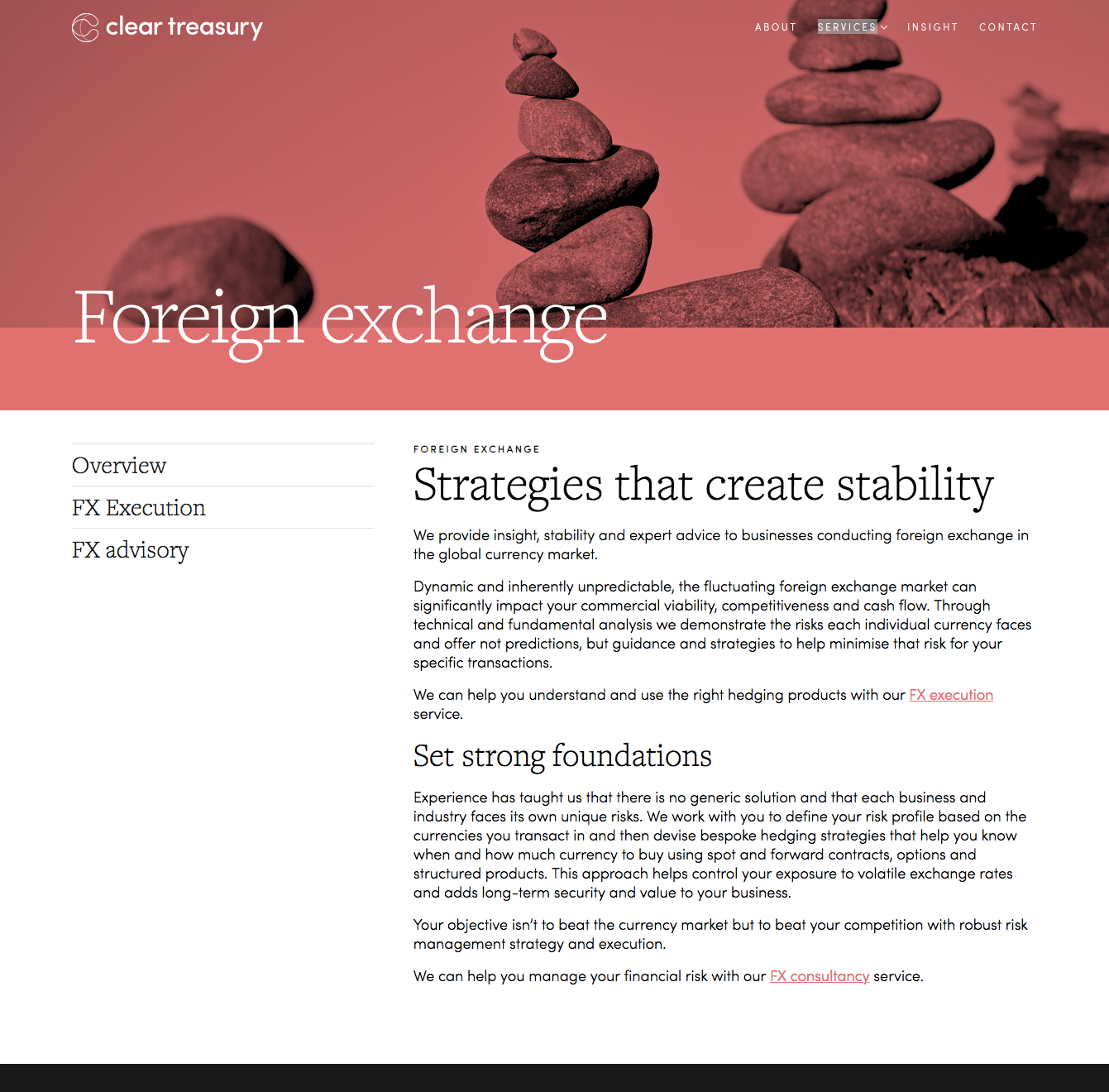 Foreign exchange services page