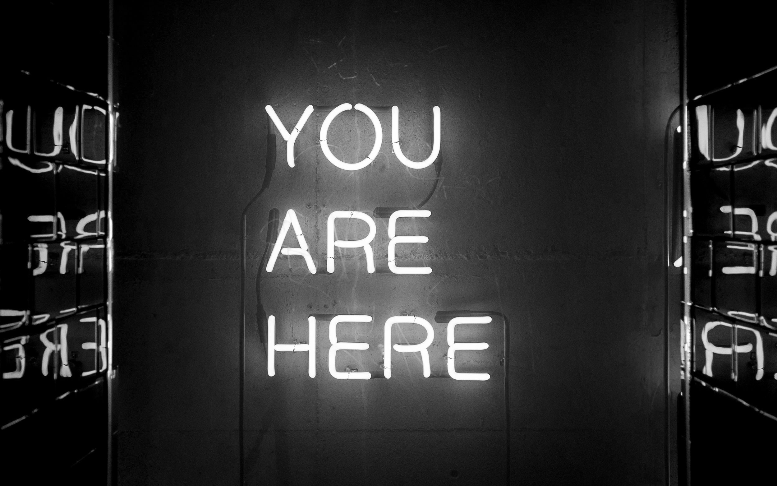 'You are here' sign - accompanies an article about self-compassion