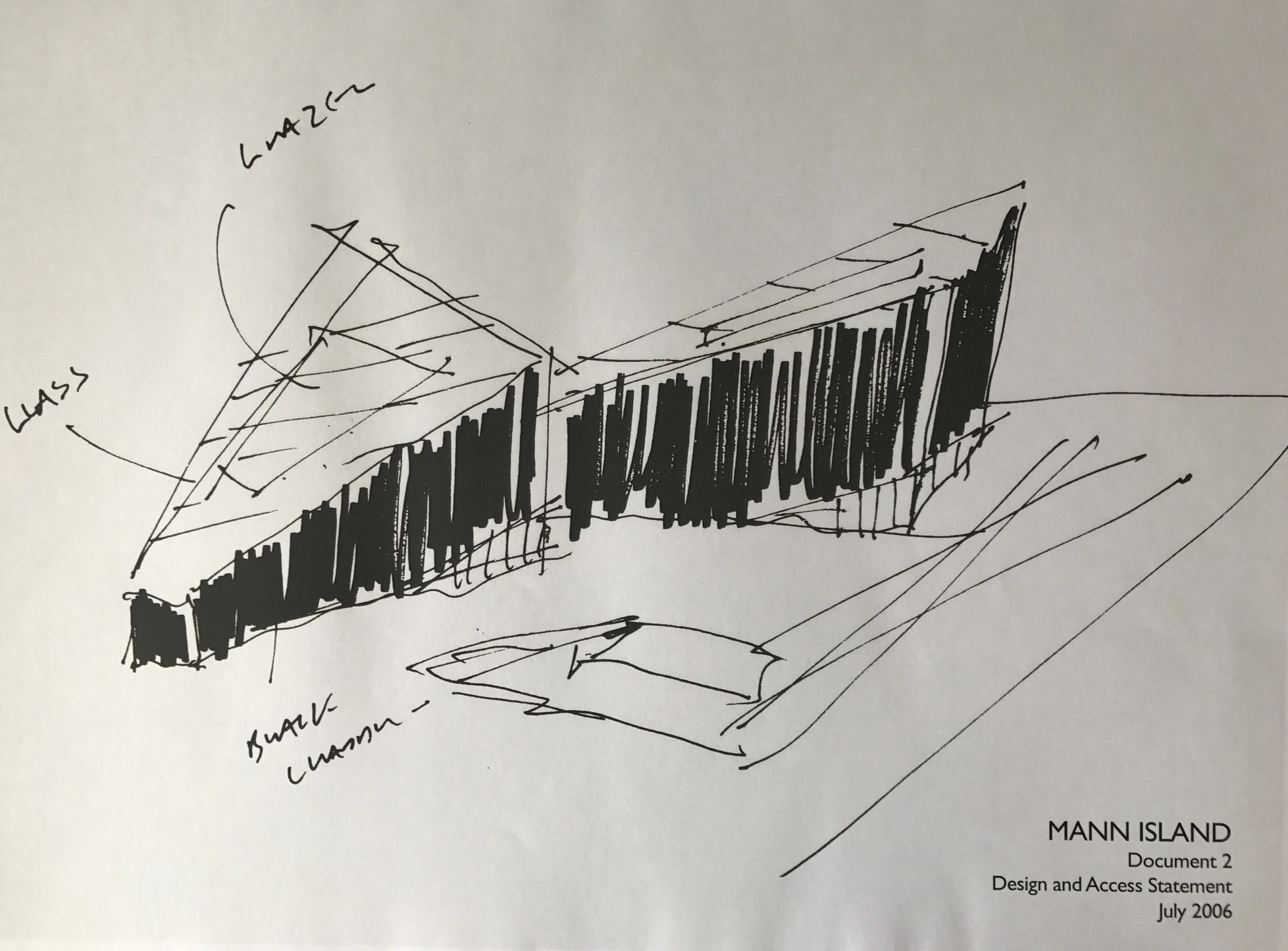 Matt Brook of Broadway Malyan Architects used his original sketch of the scheme for the Design and Access Statement back in 2006