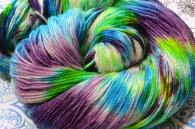 This is sock yarn... It is so much fun to dye and it is always fun seeing what the end-product looks like!