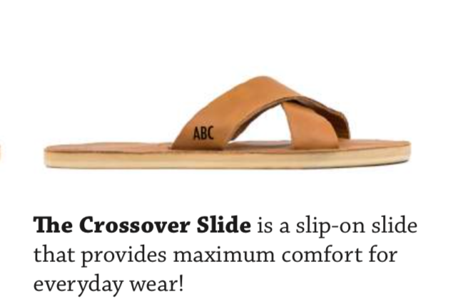 Custom Crossover Slide - AVAILABLE IN SIZES 5-11. BASE PRICE STARTING AT $79.99