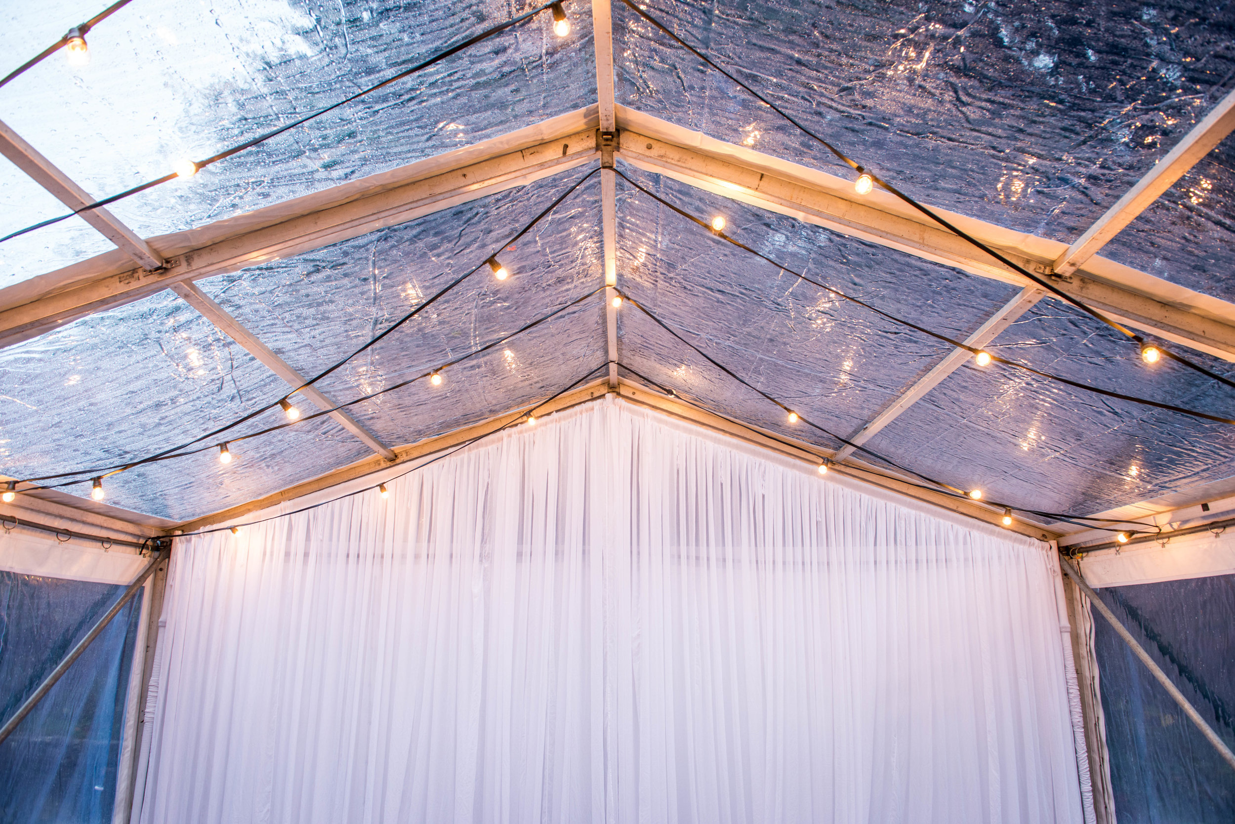 SEEN HERE   Clear Marquee Pavilion  Festoon Lighting Canopy