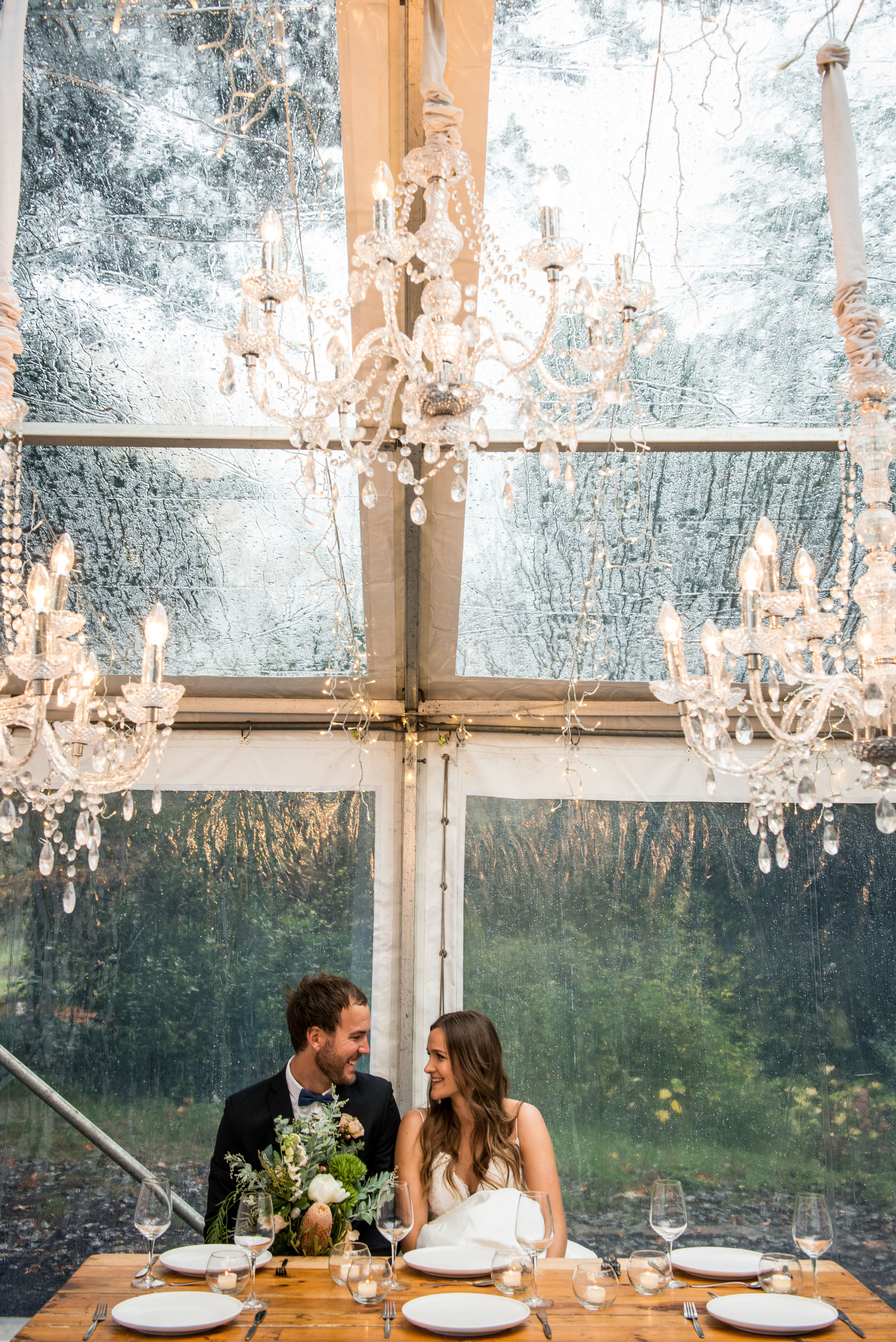 SEEN HERE   Clear Marquee Pavilion  Indoor Chandeliers Package