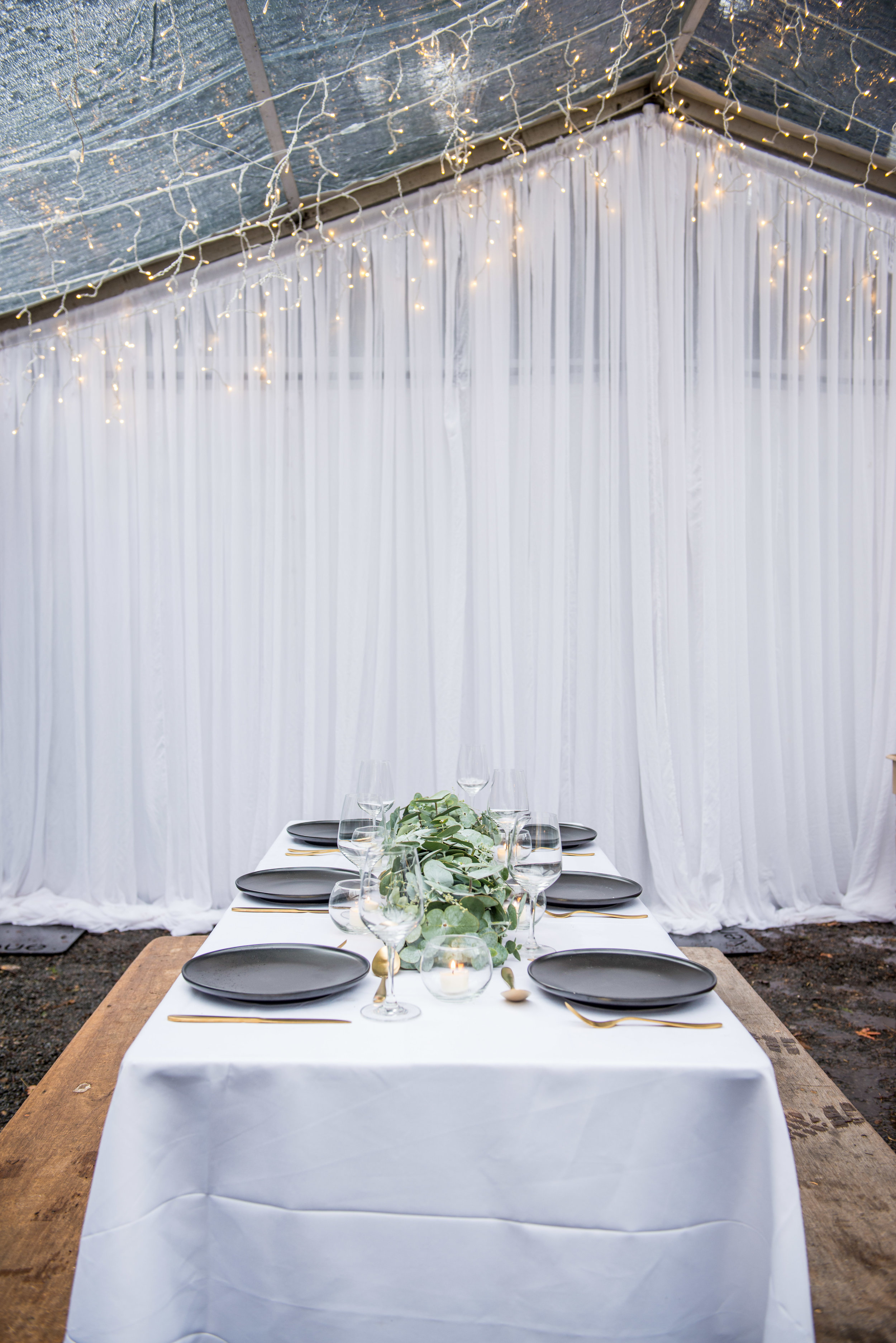 SEEN HERE   Fairy Light Canopy  Dressed Trestle Tables
