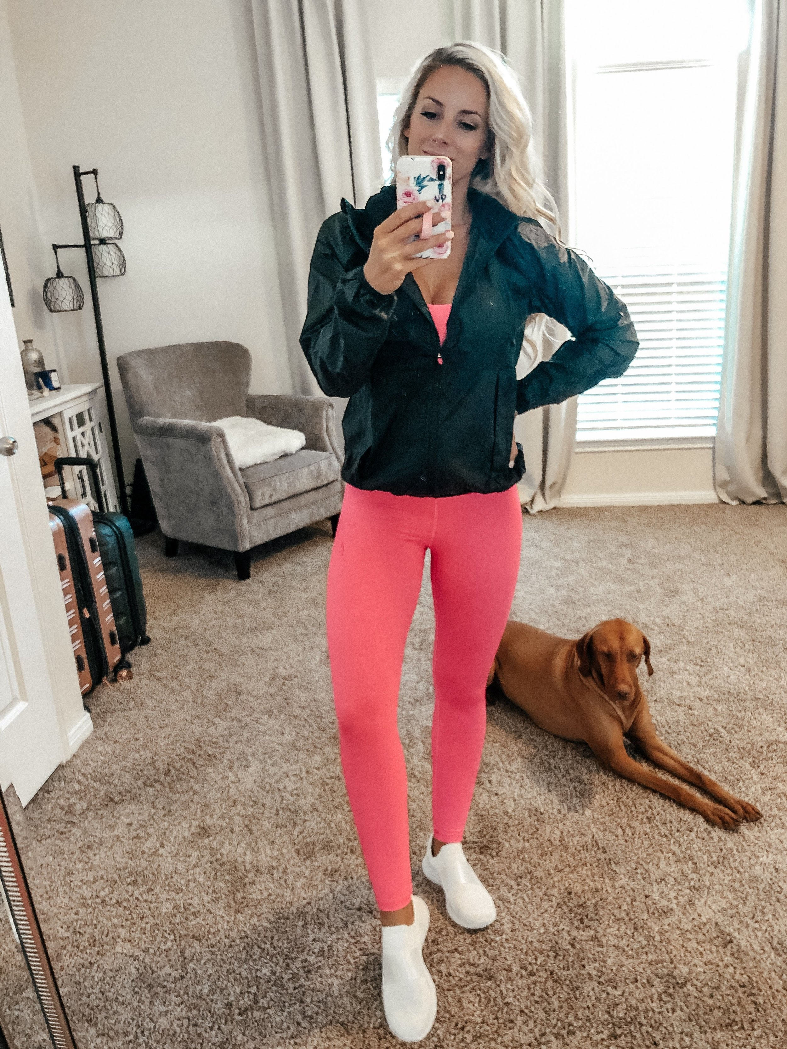 Outfit linked:  Hot Pink Leopard Light 'n Tight Bra  (I am 32DDD wearing a small with no pads);  Hot Pink Leopard Light 'n Tight 7/8 Leggings  (I'm 5'5 wearing a 4);  Black Trainer Jacket  (I am wearing a small)