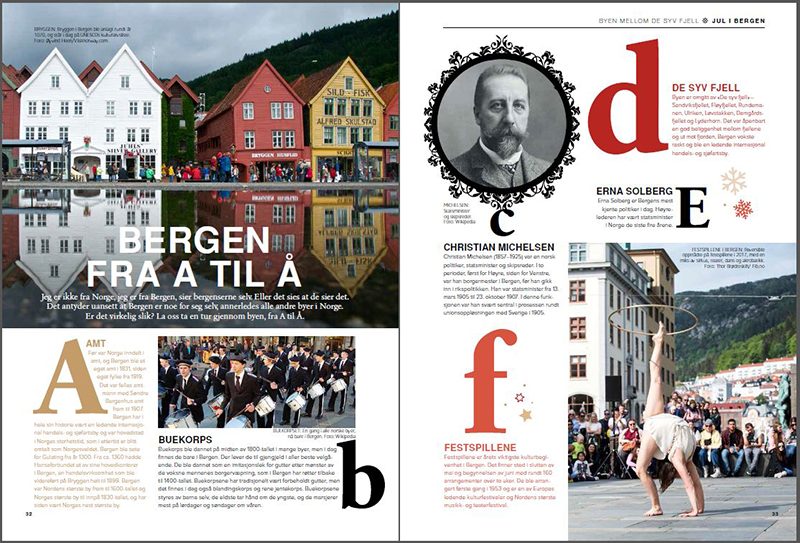 BERGEN FRA A TIL Å: Morsomme og interessante fakta om Bergen fra juleheftet «Jul i Bergen – og på Vestlandet». Foto: Faksimile