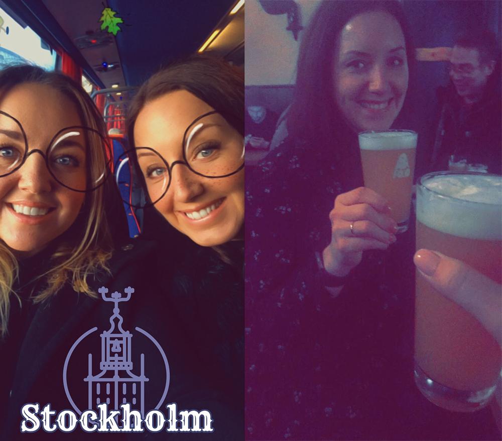 STOCKHOLMSSNAP: To snaps fra Stockholm; én fra flybussen og en ølskål litt senere på kvelden. Foto: Hedda Bjerén/Snap: @heddabully
