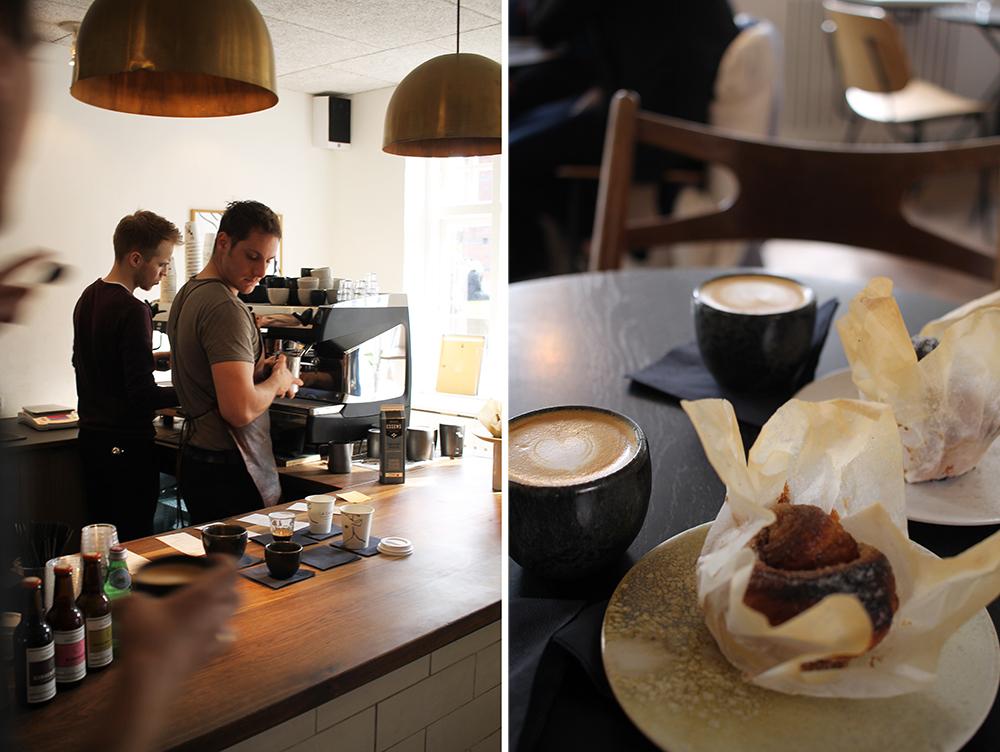 LA CABRA: Kaffe og kanelsnegle hos La Cabra smakte godt etter en lang dag på sightseeing i Aarhus. Foto: Hedda Bjerén