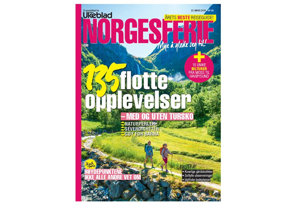 Norgesferie 2018 - I magasinet Norgesferie 2018 har jeg skrevet småstoff om reise, samt redigert og gjort layout.