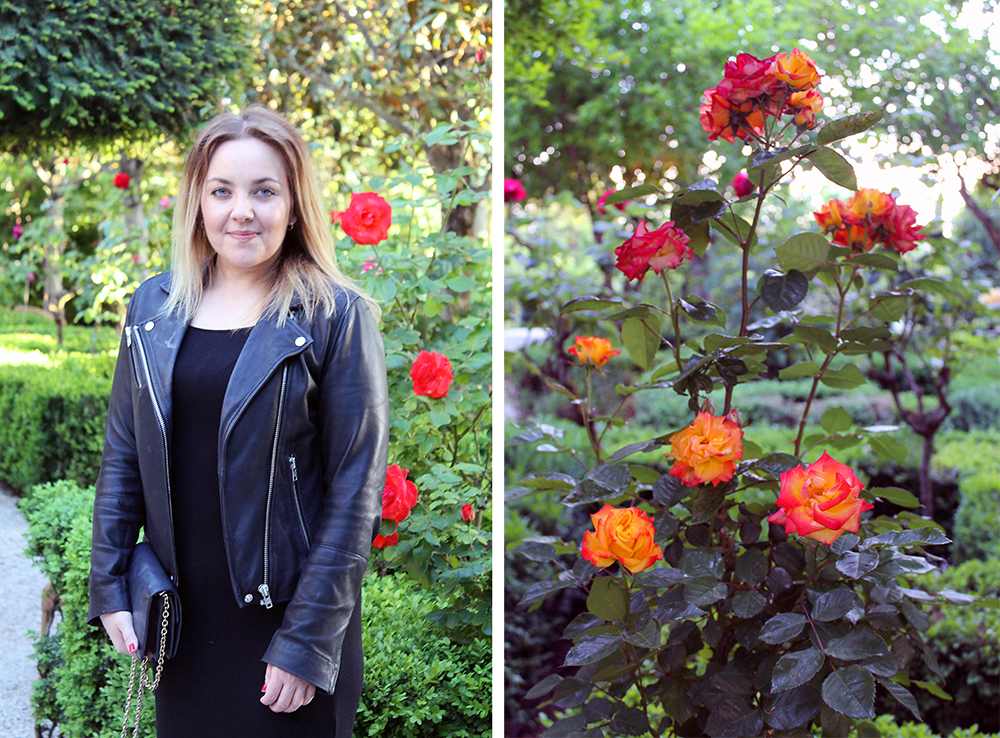 TENK KOFFERT I CHINCHON: Her er jeg i Chinchon, nærmere bestemt i den fine hagen til paradoren. Foto:  Hamaca Reiseblogg  og Tenk Koffert