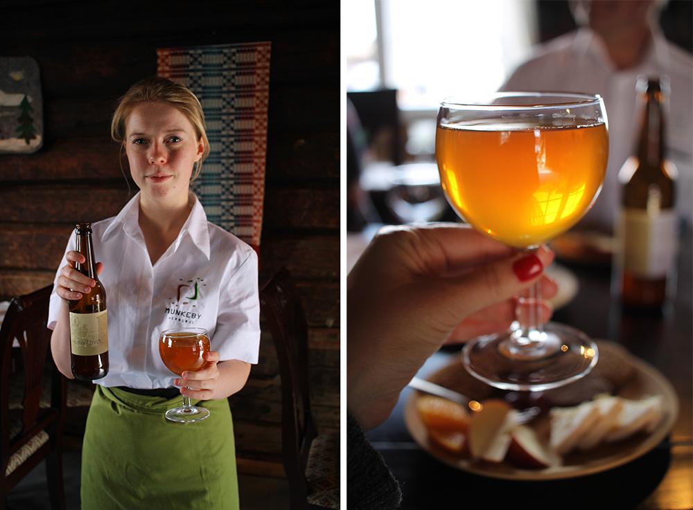 MUNKEBY OST- OG ØL: Her serveres den gode, lokale osten og det lokale ølet som passer så godt til. Foto: Tenk Koffert