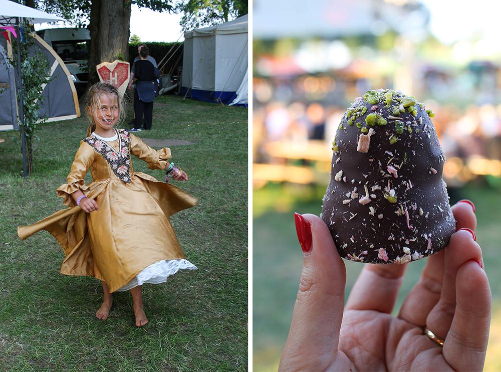 PRINSESSE: (tv) Denne søte jenta har på seg prinsessekjole og så ut til å kose seg maks i Hjerteland! (Bildet er tatt med tillatelse av foreldrene). (th) På festivalområdet selger de mye godt å spise, blant annet kokosboller fra  Summerbird . Foto: Tenk Koffert
