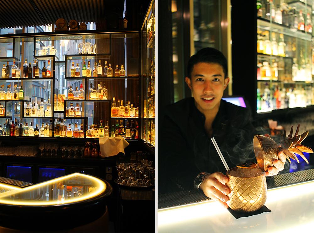 GODE DRINKER: Sylvester står i baren på The Thief og lager de beste drinker. Drinken «Check in» serveres i en stor ananas! Foto: Tenk Koffert