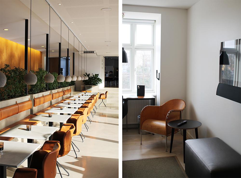 HOTEL OASIA: Fine farger og fint interiør. Bildet til venstre er fra lobbyen, bildet til høyre er tatt fra rommet mitt. Foto: Tenk Koffert