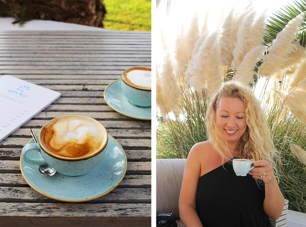 GECKO'S:  Vibeke fra Borte Bes t og jeg koste oss med god kopp kaffe på morgenkvisten. Foto: Tenk Koffert